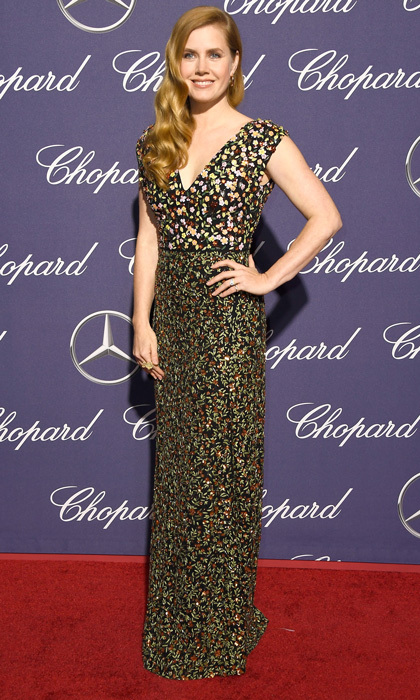 January 2:  Florals for Palm Springs! Amy Adams wowed at the annual film festival donning a printed Altuzarra frock that featured a deep-V neckline. The actress completed her look by sweeping her locks in glamorous side waves.
