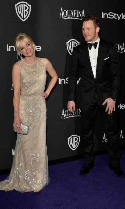 Chris Pratt admired his stunning wife Anna Faris as photographers snapped away during the 16th Annual Warner Bros. and InStyle Post-Golden Globe party.