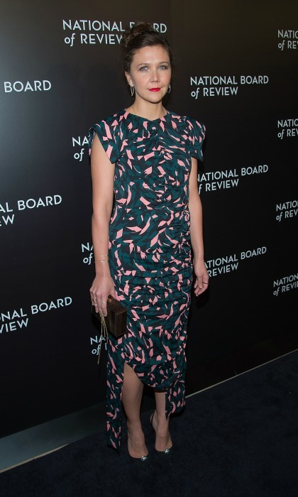 January 4: Maggie Gyllenhaal made a statement wearing a printed dress that featured an asymmetrical hem to the National Board of Review Gala in Manhattan. 