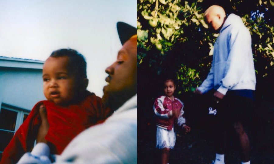 Kanye West showed off his paternal side in new photos released by his wife Kim Kardashian. The rapper held his son Saint close in one photo, while he played outdoors with his stylish daughter North in another.