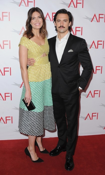 January 6: This is <i>them</i>! Mandy Moore and Milo Ventimiglia arrived at the 17th Annual AFI Awards luncheon at the Four Seasons Hotel in Beverly Hills. Mandy stunned in a tricolor Lela Rose dress.