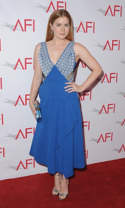 January 6: Amy Adams rocked the red carpet in a Roland Mouret dress at the 17th Annual AFI Awards luncheon. The star, who also wore Neil J. Rodgers heels, Jennifer Meyer jewelry, and a Salvatore Ferragamo clutch, was there to celebrate her film <i>Arrival</i>.