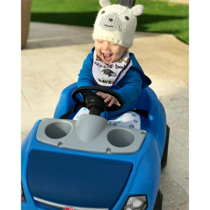 "Beep, beep! Boomer was cruising in style during a ""Sunday stroll."" 
