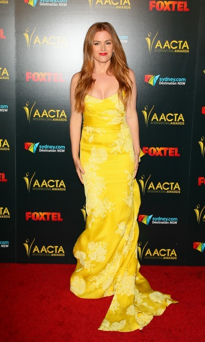 "Isla Fisher channeled her inner Belle in a flowing dress by Monique Lhuillier during the 6th AACTA International Awards in L.A. The <i>Nocturnal Animals</i> actress told HELLO! of her dress choice: ""I just really loved the color. It seemed really bright.""