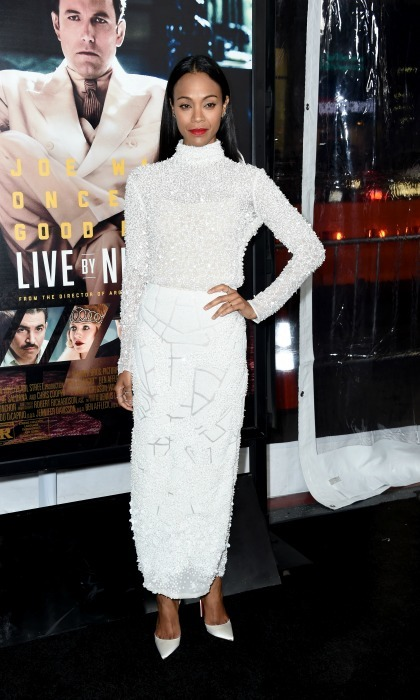 January 9: Work it! Zoe Saldana stunned in an all-white dress by J. Mendel at the premiere of <i>Live by Night</i> in Hollywood. 