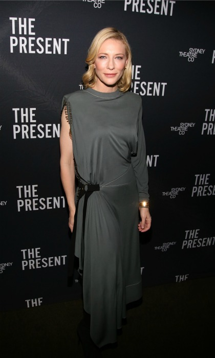 January 8: Cate Blanchett looked stylish in a charcoal dress for the opening night of her new Broadway show <i>The Present</i>.