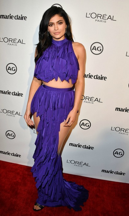 January 10: Skin is in! Kylie Jenner wore a purple frock by Balmain at the 2017 Marie Claire's Image Maker Awards in West Hollywood. 
