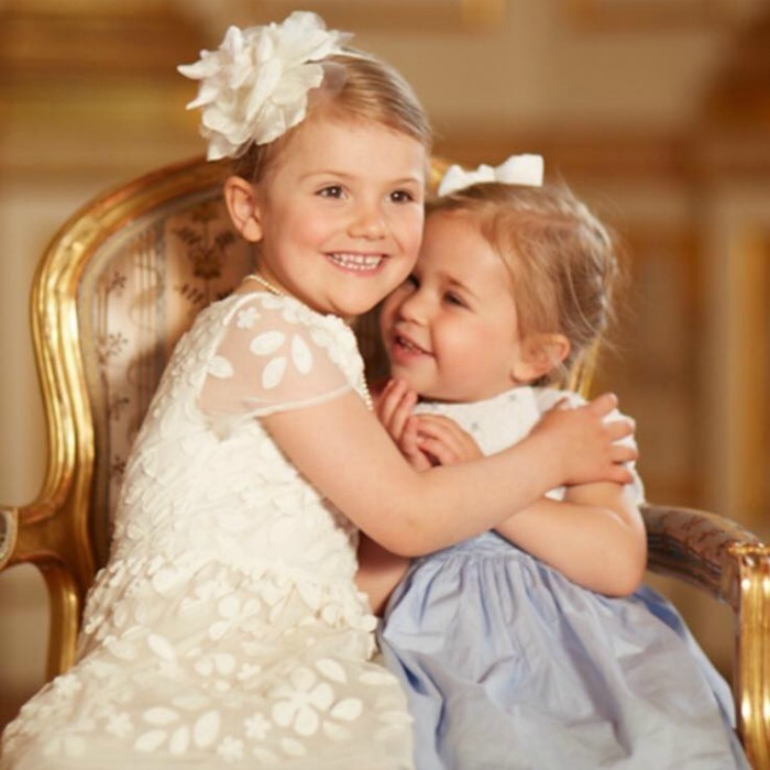 "Cousin love! Attached to a tender photo of her niece Princess Estelle and Leonore, Princess Madeleine wrote, ""My sister and I are blessed as mothers of these two sweet little girls who adore each other!""