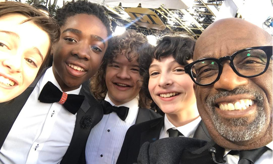 Stranger things celebrity fan club amy adams ryan gosling and al roker was just one of the boys posing with noah caleb mclaughlin gaten m4hsunfo
