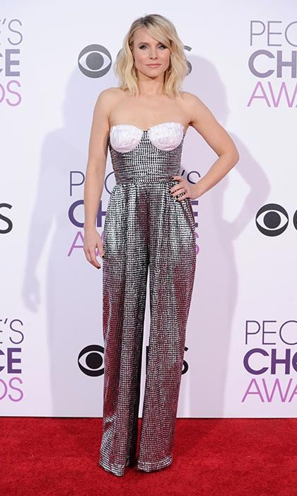 January 18: Kristen Bell traded in a gown for this striking silver wide leg jumpsuit at the People's Choice Awards 2017 at Microsoft Theater in Los Angeles, California. 
