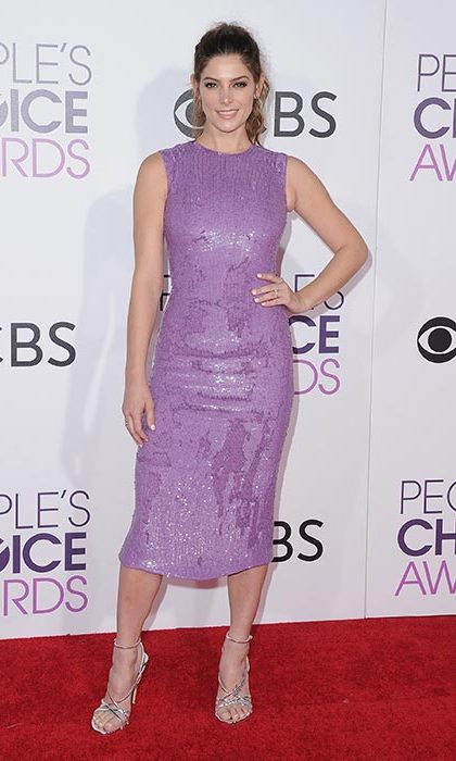January 18: A sparkling purple midi dress and Stuart Weitzman heels ensured Ashley Greene turned heads at the People's Choice Awards 2017 at Microsoft Theater in Los Angeles. 