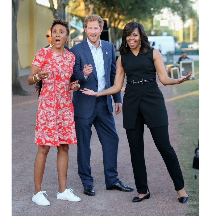 May 2016: Game on! One month following her trip to London, Michelle was joined by Harry and GMA's Robin Roberts in Orlando for the 2016 Invictus Games. 