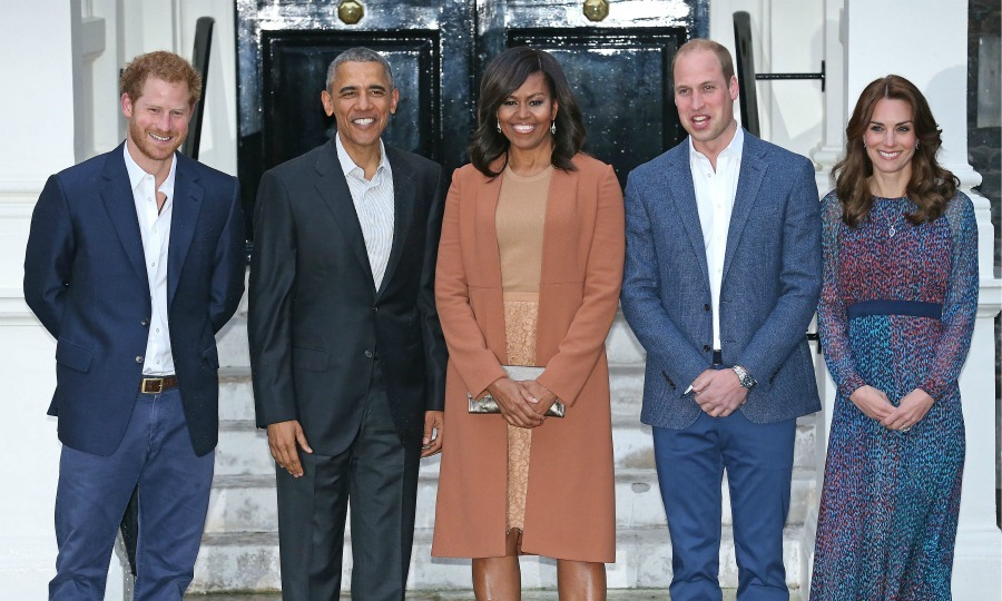POTUS and FLOTUS were welcomed by Prince William, Prince Harry and Kate Middleton for a dinner at Kensington Palace. 