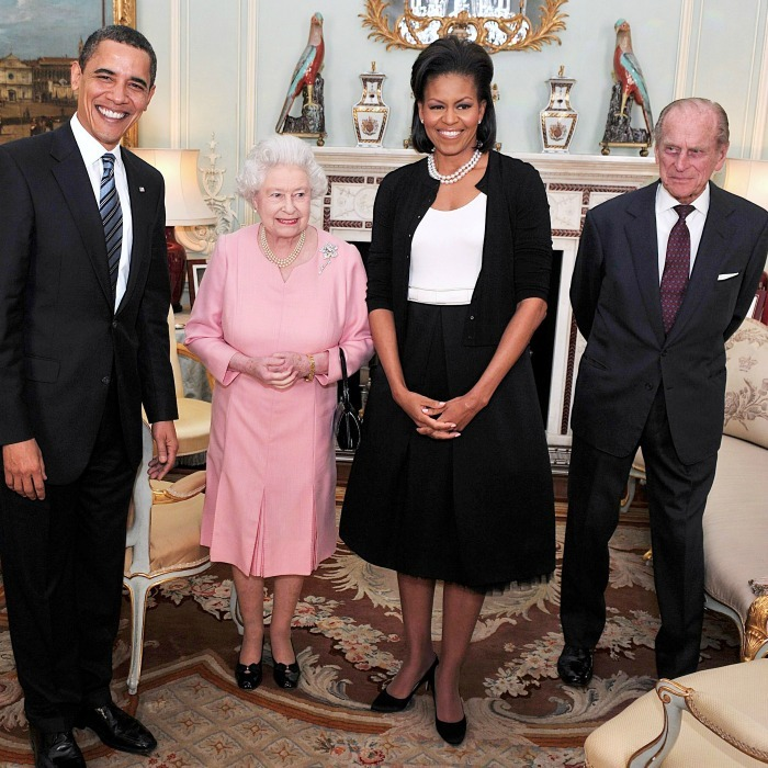 President Obama, Queen Elizabeth, Michelle Obama and Prince Philip gathered together after their initial introduction at Buckingham Palace.