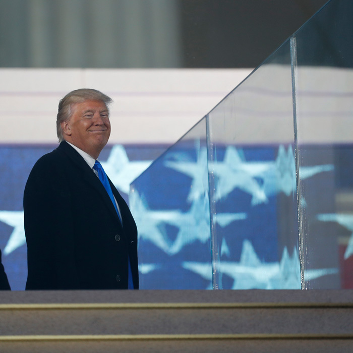 Donald was spotted singing along to performer Lee Greenwood's classic tune <i>Proud to be an American</i> from his box at the welcome concert.
