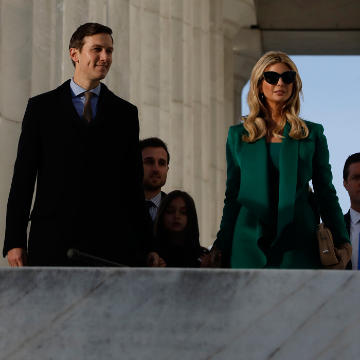 Jared Kushner and Ivanka Trump made a sharp duo as they arrived for the concert with their oldest child, daughter Arabella.