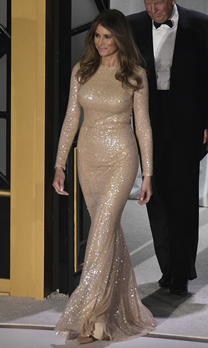 The First Lady in waiting wore a sparkling, figure-skimming design by Reem Acra. 