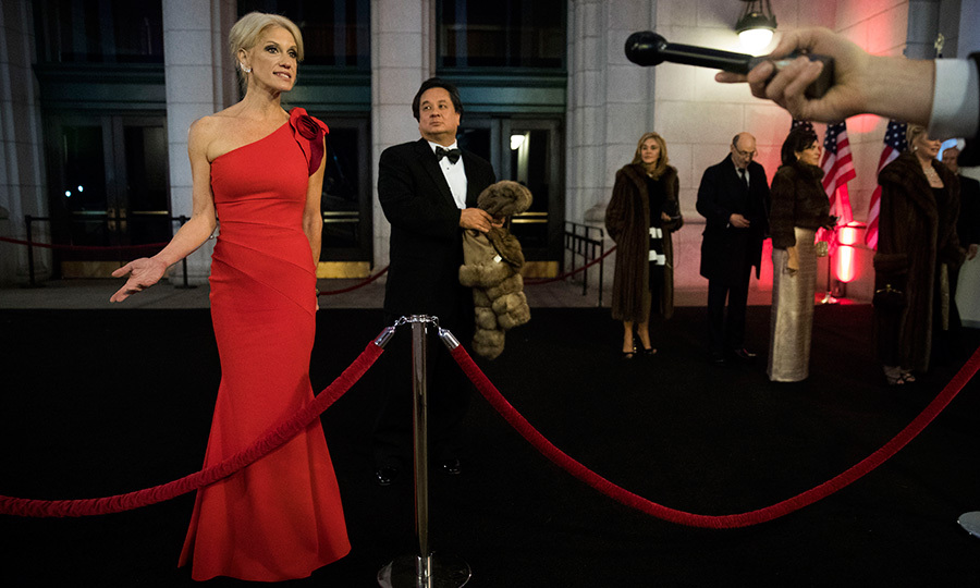 Senior advisor to the President-elect, Kellyanne Conway, arrived as a lady in red at the Union Station dinner.