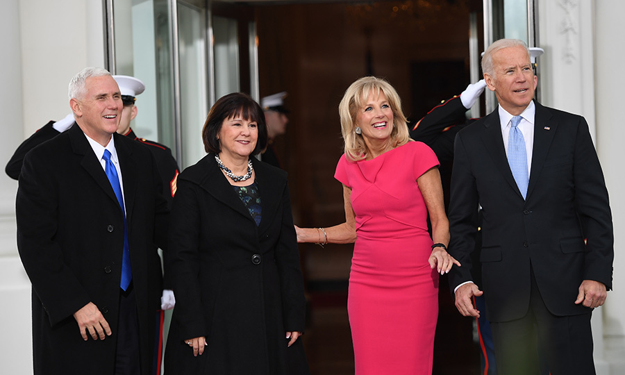 Barack and michelle obama greet donald and melania trump for white vice president joe biden and dr jill biden right posed with incoming vp m4hsunfo