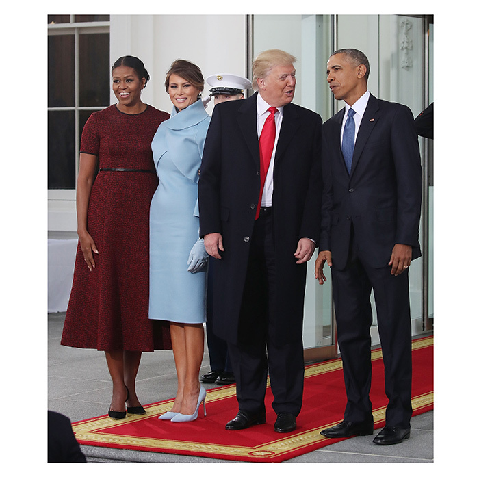 Barack and michelle obama greet donald and melania trump for white president obama michelle obama donald trump and melania trump posed for photos on the m4hsunfo