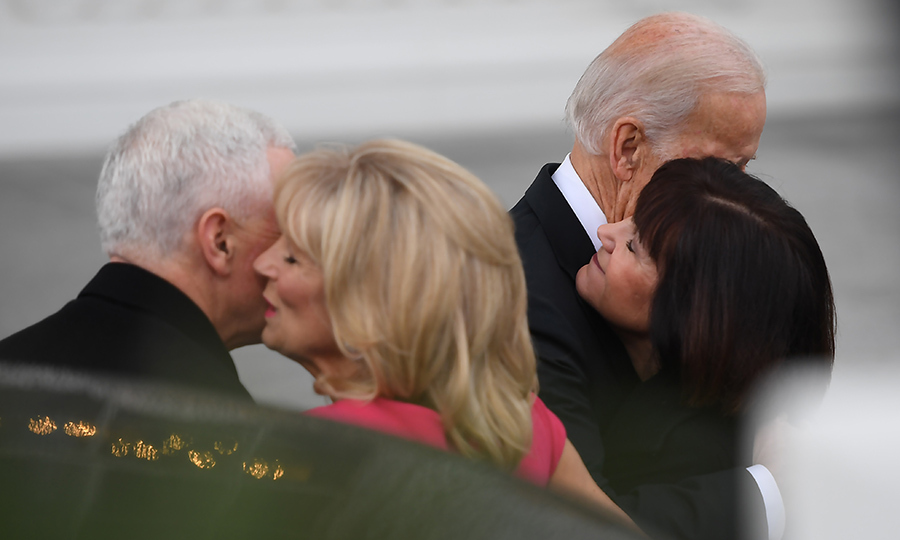 The group exchange hugs and kisses on the historic morning of January 20.