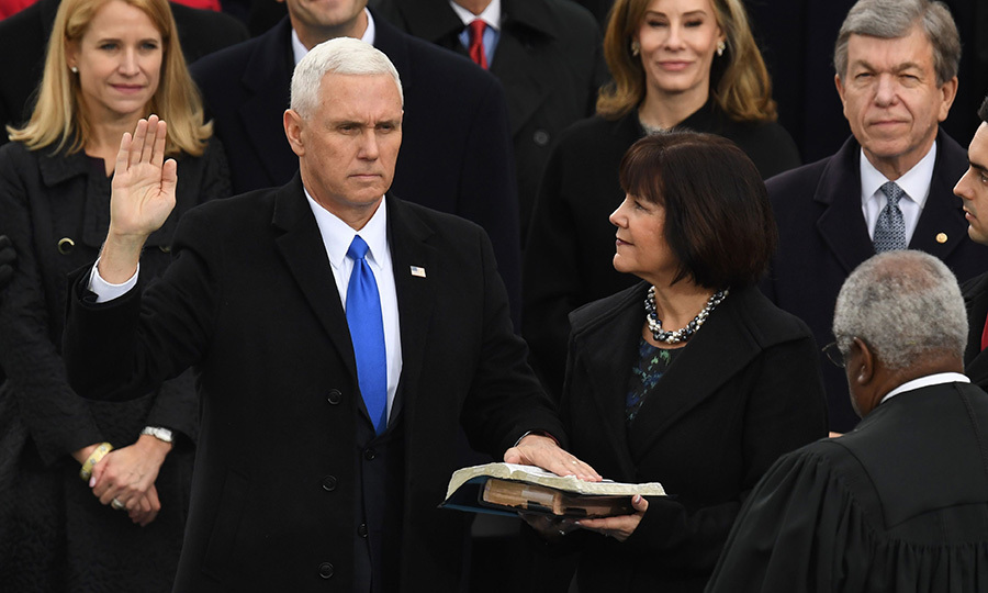 Vice President Mike Pence was sworn in using Ronald Reagan's Bible.