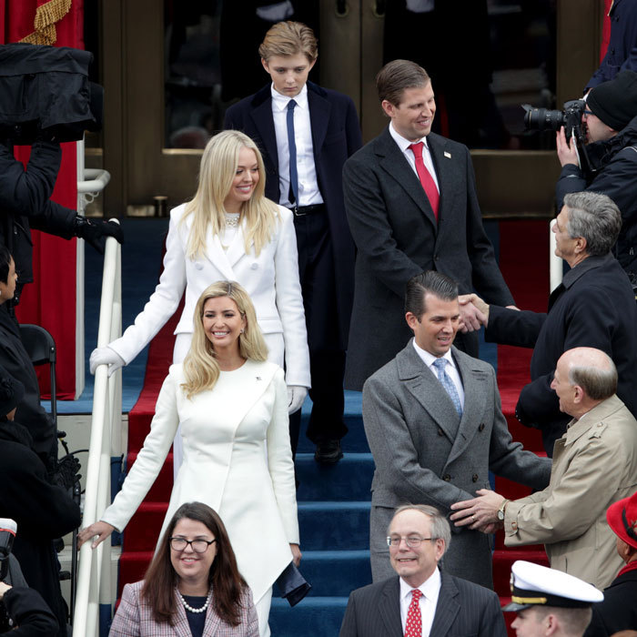 Donald's children, Ivanka, Tiffany Trump, Donald Jr., and Eric and Barron, had arrived together for the ceremony.
