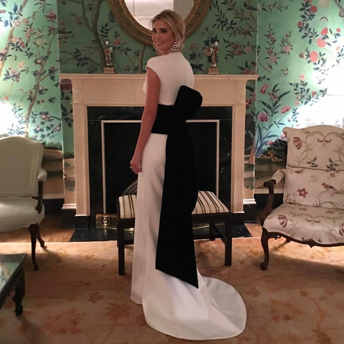 Ivanka wowed in a black and white cap sleeve gown that featured a dramatic back bow by <b>Oscar de la Renta</B> for a dinner held at D.C.'s Union Station.