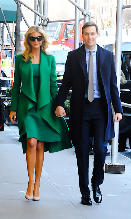 From Manhattan to DC! Ivanka stunned on the first day of inaugural events donning an emerald coat and matching dress by <b>Oscar de la Renta</B>.
