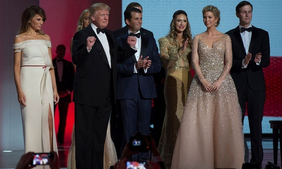 From left to right, First Lady Melania, President Trump, First Son Donald Trump, Jr, Lara Trump (wife of Eric), Ivanka Trump and her husband Jared Trump.