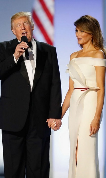 President Trump addressed the crowd at the Liberty Ball with Melania by his side.