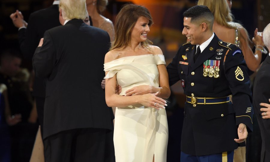 First Lady Melania, meanwhile, danced with a Marine at the Salute to Our Armed Services Ball.