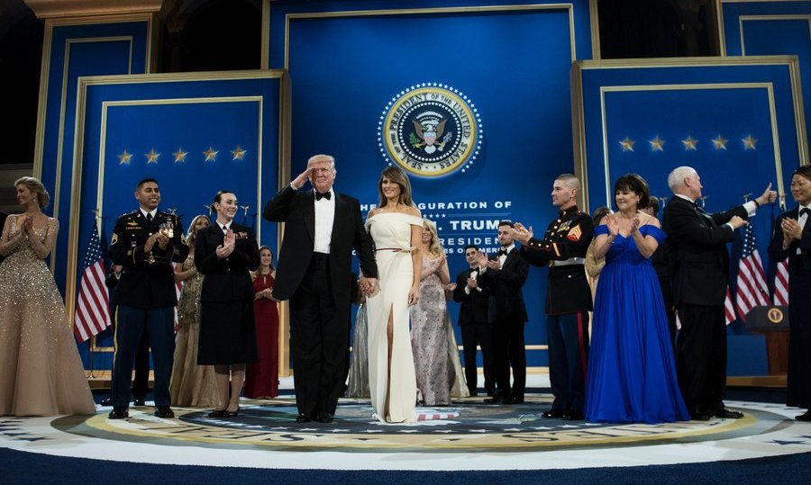 The newly-inaugurated Commander-in-Chief saluted the crowd at the Armed Services Ball.