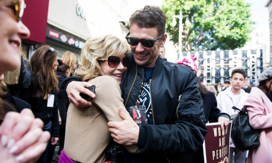 Jane Fonda and James Franco were all smiles at the L.A. Women's March. The two actors hugged, thrilled to be fighting for women's rights.