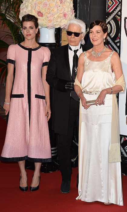 Karl Lagerfeld joined the Princess and her look-alike daughter Charlotte Casiraghi at the Monaco Rose Ball in 2015.
