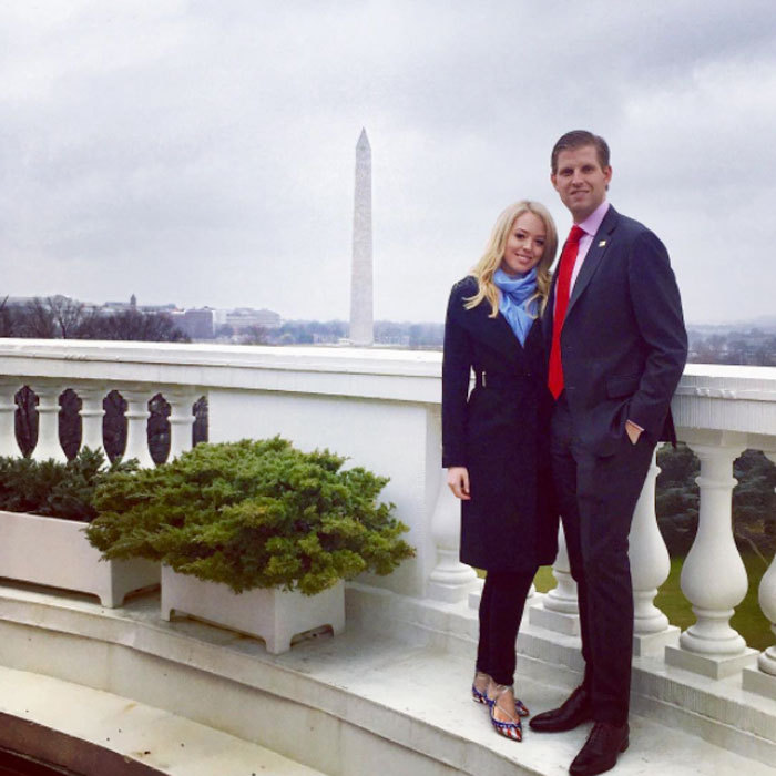 Tiffany Trump showed off her patriotic spirit donning American flag Aquazzura ballet flats on top of the White House with her brother Eric Trump.