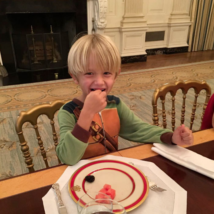 "Breakfast at the White House! Donald Trump Jr.'s son snacked on fruits at his grandfather's new residence. ""I'm sure a lot of people have lunch in their Teenage Mutant Ninja Turtle pajamas in The White House... then again this could be a first. Well done Tristan. #inauguration #whitehouse #tmnt #pajamas,"" Donald Jr. captioned the photo.