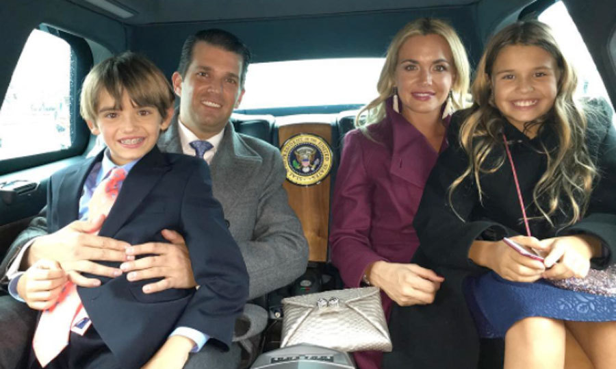 "Donald Jr. and Vanessa Trump were riding in style with their kids Donald III and Kai. ""Riding to The White House in the new Presidential limos. These things are amazing... like mixing a limo with a monster truck. #maga #america #usa #trump #trump45 #45,"" the dad-of-five wrote alongside the picture.