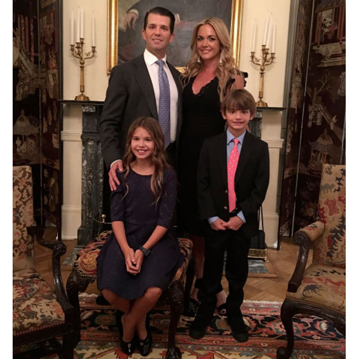 "Donald Jr. and his family posed for a group photo ahead of his feather's inauguration. Attached to the picture he penned, ""At Blair House, the President's guest residence, with Vanessa, Kai, and Donnie this morning before a very moving service at Saint John's Church. #inauguration #trump45 #trump #maga #45.""