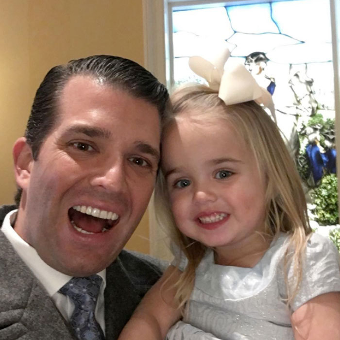 "Donald Jr. stole precious father-daughter time with his little girl Chloe. ""Got greeted by the cutest Trump supporter just now after an amazing ceremony at The Capital,"" the proud dad captioned the photo.