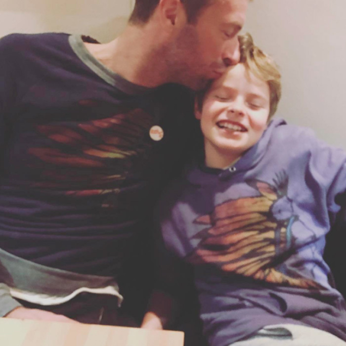 "Chris Martin and his son Moses were twinning and cuddling in a sweet father-son photo posted by Gwyneth Paltrow, which she captioned, ""#matching #believeinlove.""
