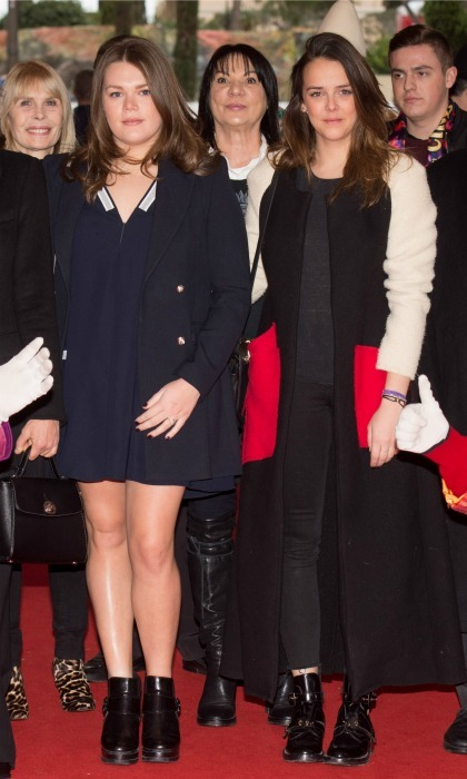 Princess Stephanie of Monaco's daughters stepped out in style! Camille Gottlieb, left, rocked a t-shirt dress and ankle boots combo, while Pauline Ducruet stayed true to style in a statement jacket she designed herself during the 41th Monte-Carlo International Circus. 