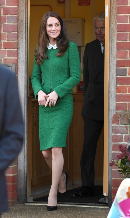 Talk about going green! Kate Middleton was ready for work in a suit by Hobbs during her outing at the East Anglia's Children's Hospices. 