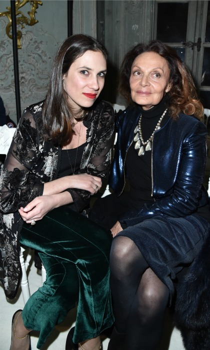 Tatiana Santo Domingo snuggled close to Diane von Furstenberg during the Giambattista Valli Haute Couture Spring Summer 2017 show in Paris. 