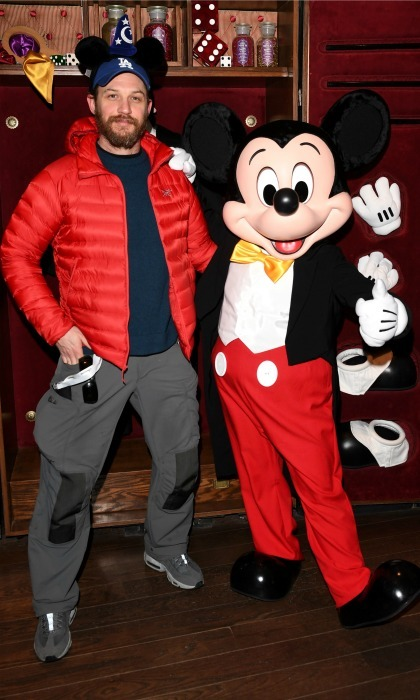 Welcome to the dark side! Tom Hardy was joined by Mickey Mouse for the opening of Disneyland Paris' #Season of the Force. 