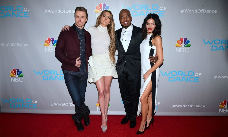 January 25: Legs for days! Derek Hough and Ne-Yo were dapper gents while Jennifer Lopez and Jenna Dewan Tatum showed off a lot of leg during the <i>World of Dance</i> event in L.A. 