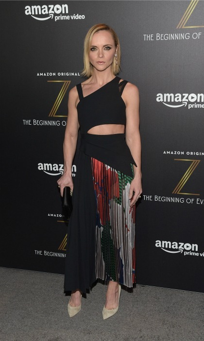 January 25: Christina Ricci wore a camouflage organza cut dress by BOSS to the premiere of the new Amazon series <i>Z: The Beginning of Everything premiere in NYC.