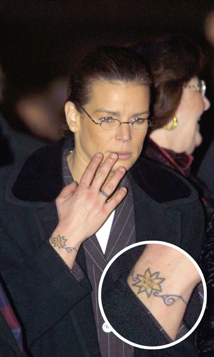 Aside from the dolphin ink on her ankle, Prince Albert's sister also has a sun bracelet tattoo on her right wrist.