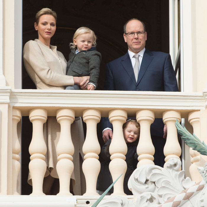 January 2017: Princess Gabriella peered through the balcony railings at the Monaco Palace as she attended a ceremony for Sainte-Devote, the patron saint of the Principality of Monaco and Corsica, with her twin brother Prince Jacques and parents.