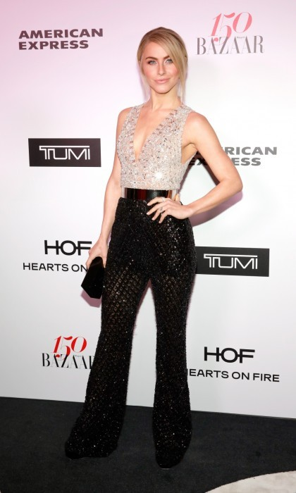 January 27: Julianne Hough set the Harper's BAZAAR carpet ablaze, complementing her shimmering Zuhair Murad suit with Hearts On Fire jewels. 